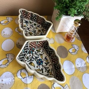 Vintage decorative checkered/floral small dish set